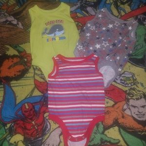 Other - 3 piece lot! Three tank top onesies SIZE 0-3 mo